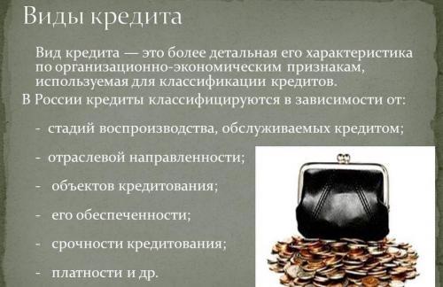 Разновидность кредитов в России