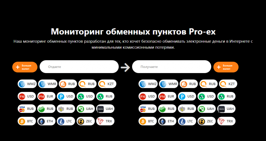 Pro-ex – отличный мониторинг обменников электронных и криптовалют